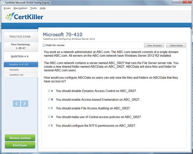 Latest 70-410 Exam Questions - Microsoft Training for MCSA