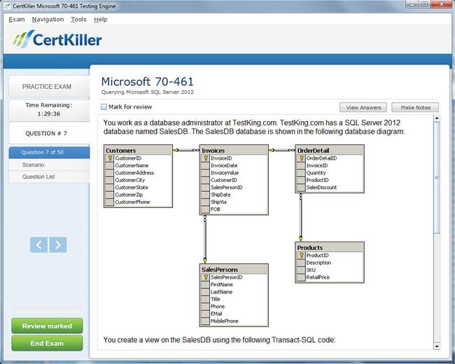 Latest 70-461 exam questions microsoft training for mcsa.
