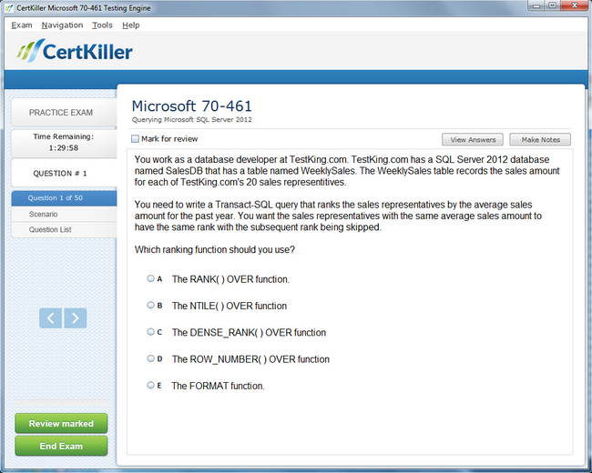 Latest 70 461 Exam Questions Microsoft Training For Mcsa Certification